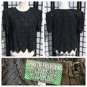 ♣️100% silk black sequin beaded blouse